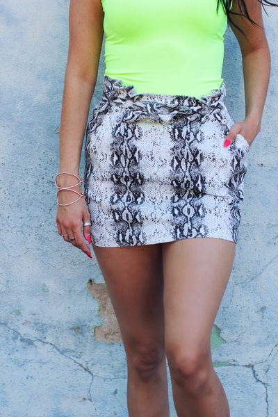 Snake Print High Waist Tie Belt Pocketed Skirt