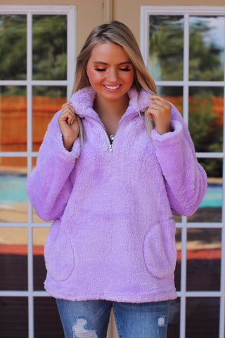 Lavender Fields Zip Up Pocketed Sherpa Pullover