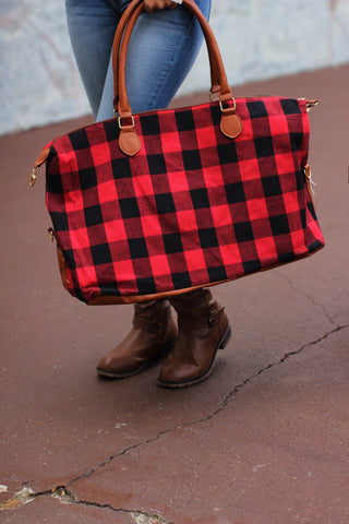 Buffalo plaid Weekender Bag- Red