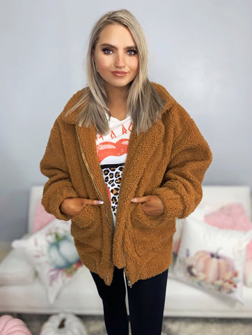 Perfect Places Camel Teddy Jacket