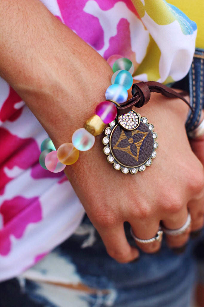 LV Multicolor Mermaid Quartz with Bling Stretch Bracelet
