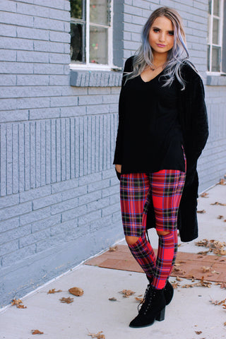 Chloe Plaid High Waist Cutout Knee Leggings