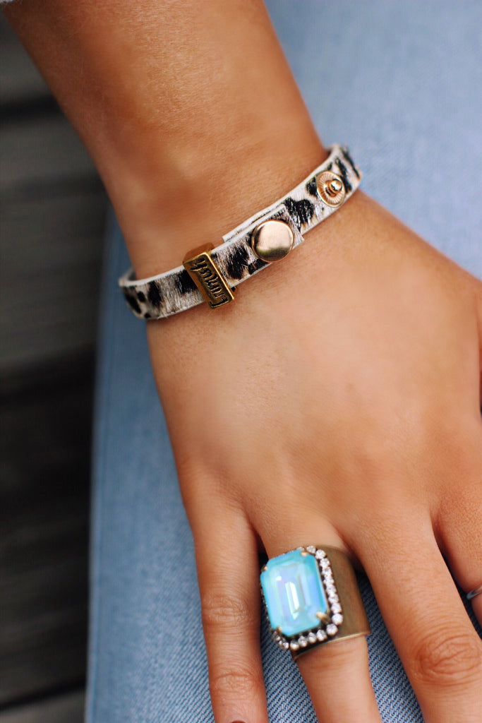 Erimish Taupe with Silver Leopard Leather Bracelet