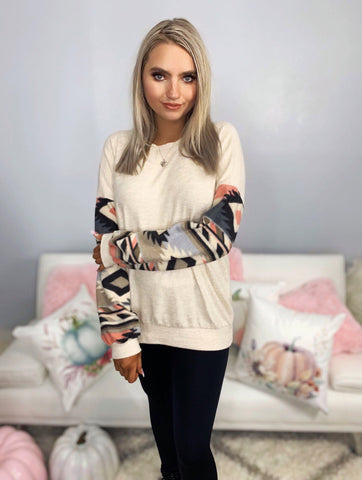 Poised and Pretty Oatmeal with Aztec Print Peasant Sleeve Top