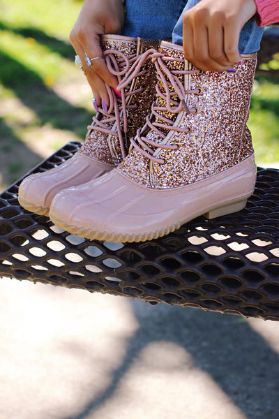 Glitzy Rose Gold Glitter Duck Boots