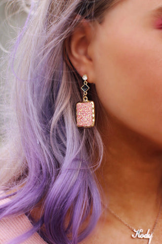 Pink Glitter Square Gold Bling Earrings
