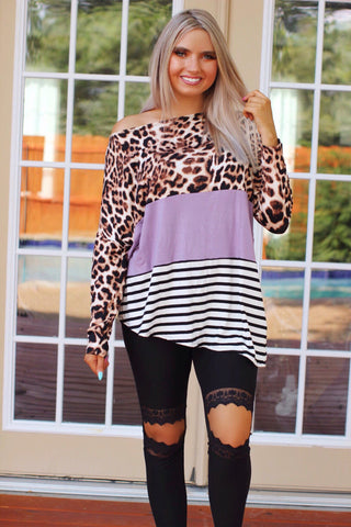 Weekend Brunch Leopard Lavender Stripe Color Block Asymmetric Hem Top