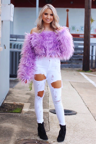Dream Date Lavender Shaggy Faux Fur Off Shoulder Top