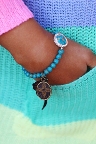 LV Turquoise Bead Pave Crystal Bracelet