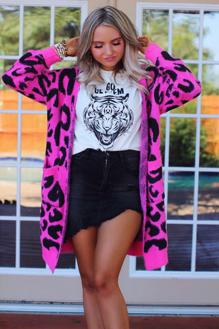 Love is Wild Fuchsia Eyelash Leopard Furry Cardigan