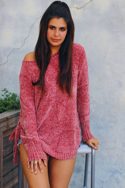 Ava Antique Coral Side Lace Up Detail Sweater