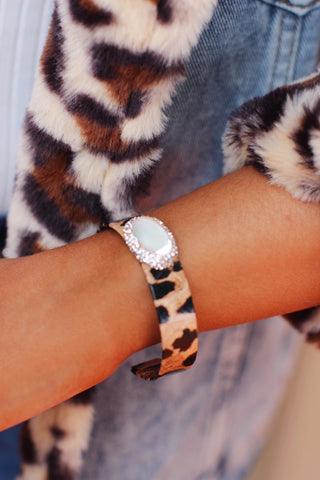 Leopard Mother of Pearl Pave Crystal Bracelet