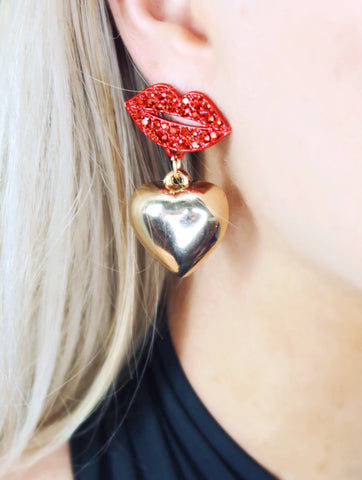 Red Rhinestone Lip Dangle Heart Earrings