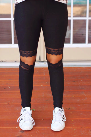 High Stakes Black Cut Out Knee Lace Detail Leggings