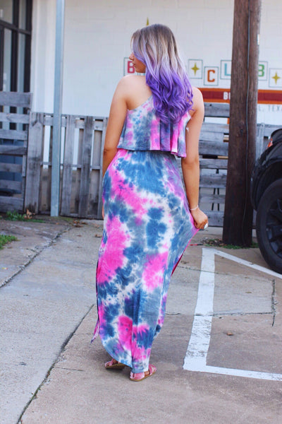 Fuchsia Purple Blue Tie Dye Halter Tie Back Maxi Dress
