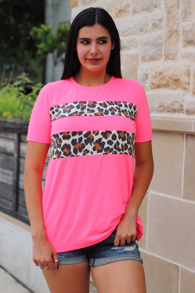 Bailey Neon Pink Leopard Stripe Top
