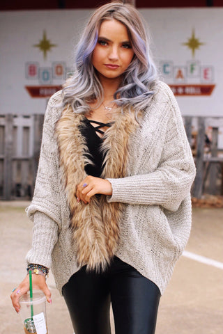 Rayleigh Faux Fur Lace Up Back Taupe Cardigan