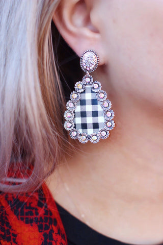 Smaller White Black Buffalo Plaid AB Crystal Abigail Earrings