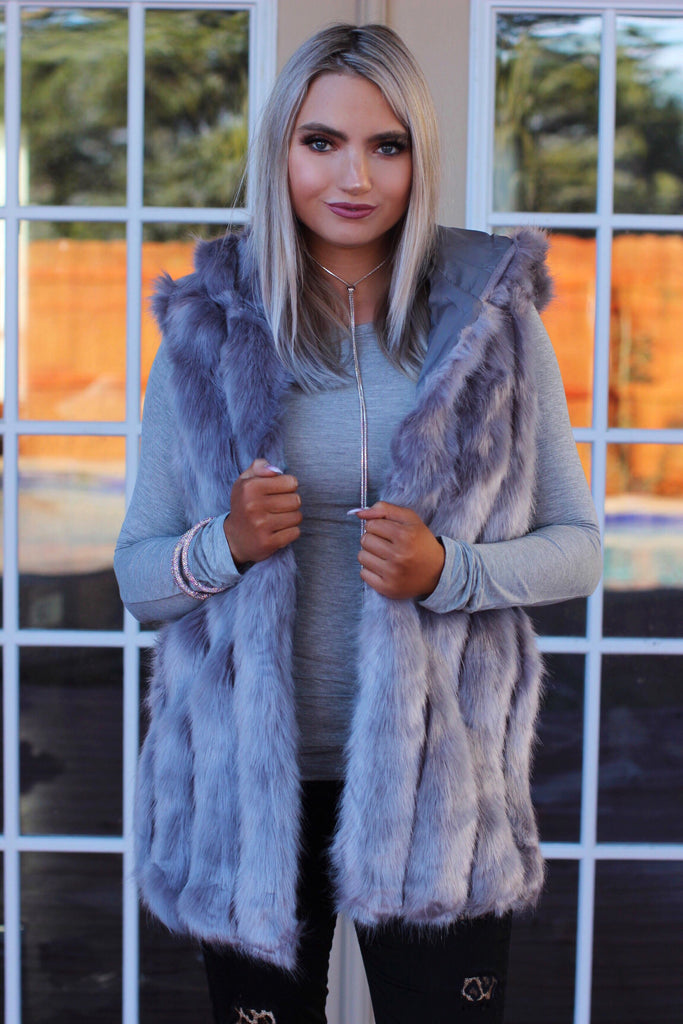 Coming Up Gray Faux Fur Hoodie Vest