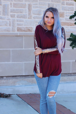 Ashley Burgundy Sequin Long Sleeve Top