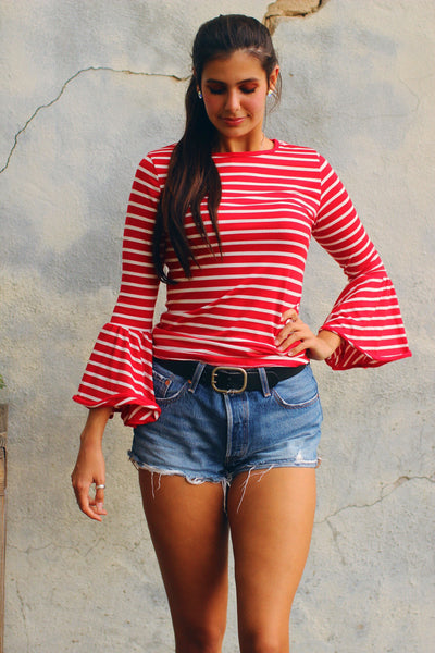 Candy Red and White Striped Bell Sleeve Top