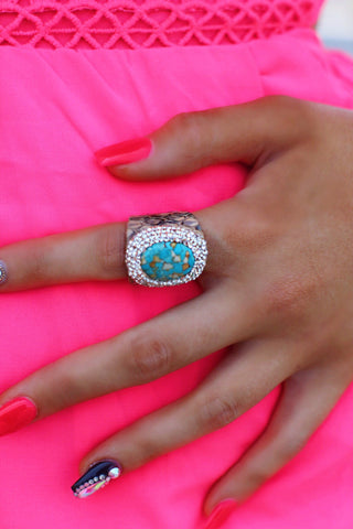 Turquoise Pave Taupe Croc Print Adjustable Size Ring