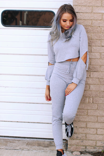 Mia Cutout Detail Cropped Hoodie and Jogger Pants Set