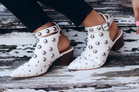 Jolene White Studed Ankle Strap Booties