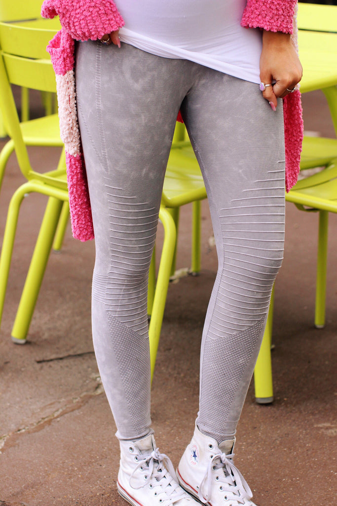 Gray Vintage Wash Motto Leggings