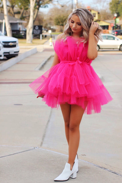 Party On Main Hot Pink Ruffle Tulle Dress