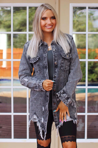 On Tour Charcoal Distressed Denim Jacket
