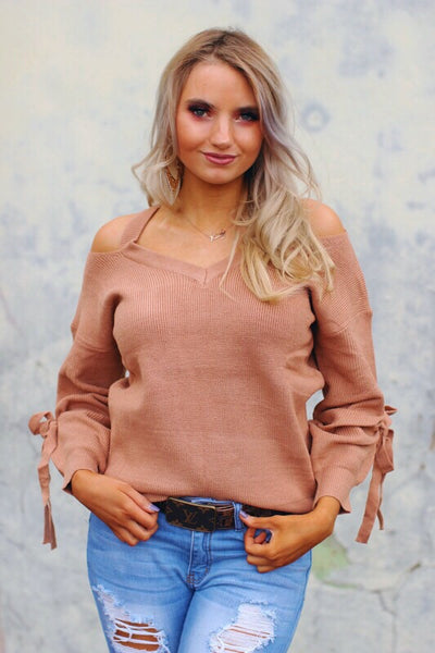 Abby Taupe Cold Shoulder Lace Up Sleeve Sweater