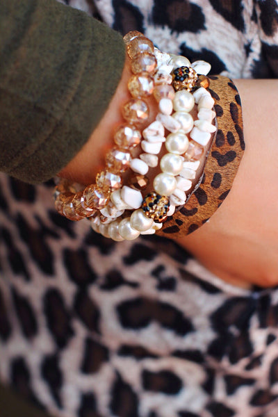 Amber Pearl Bead with Leopard Bling Bracelet Set