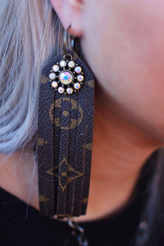 LV Long Brown Fringe with AB Crystal Flower Earrings