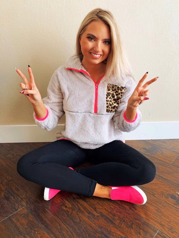 Skip A Beat Silver Leopard Pocket Neon Pink Furry Pullover