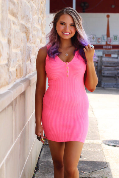 Cause a Scene Bodycon Ribbed Neon Pink Dress