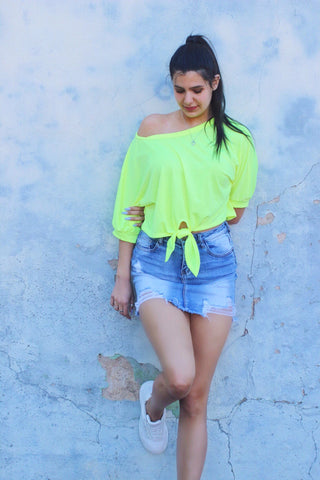 Cassandra Neon Yellow Tie Front Top