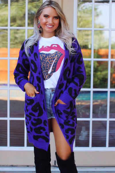 Love is Wild Purple Eyelash Leopard Furry Cardigan