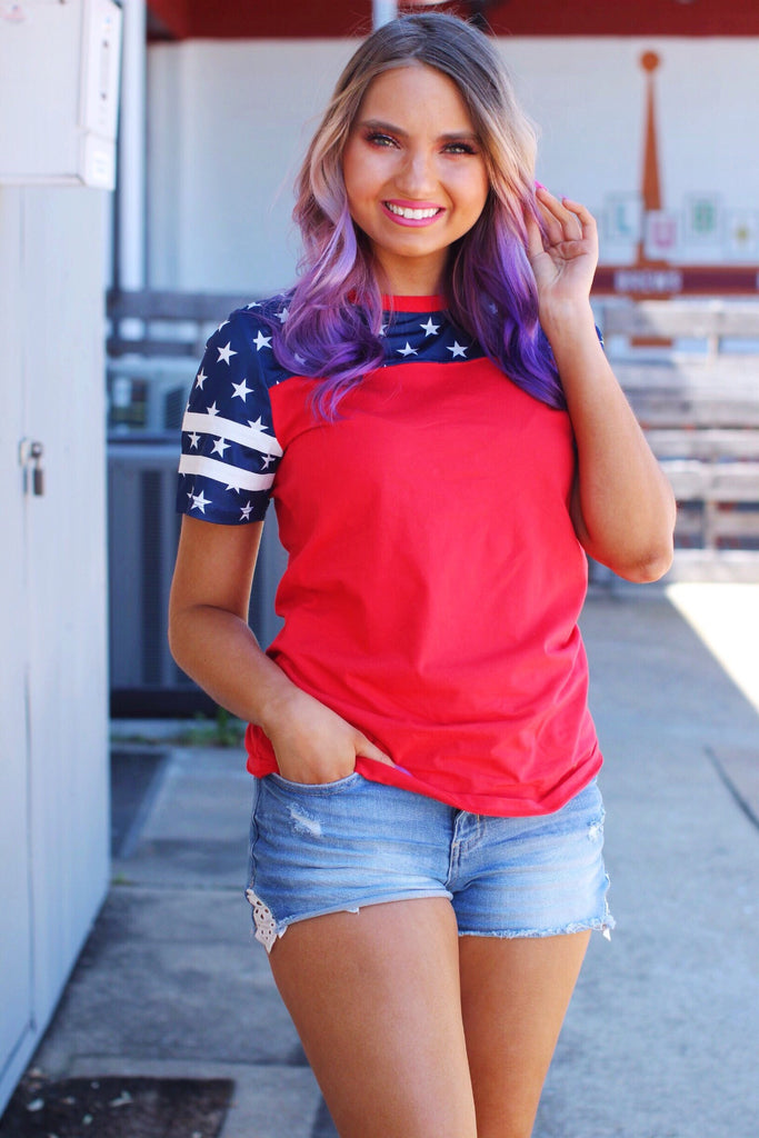 Oh My Stars Red and Navy with White Stars Top