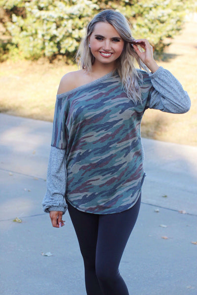 Camo Crush Soft Heather Gray Camo Print Top