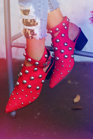 Jolene Red Studed Ankle Strap Booties