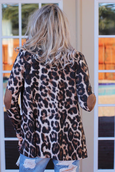 Girl About Town Leopard with Taupe Elbow Patch Cardigan