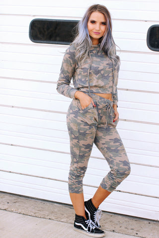 Camo Cropped Hoodie with Ruched Side Jogger Pants Set