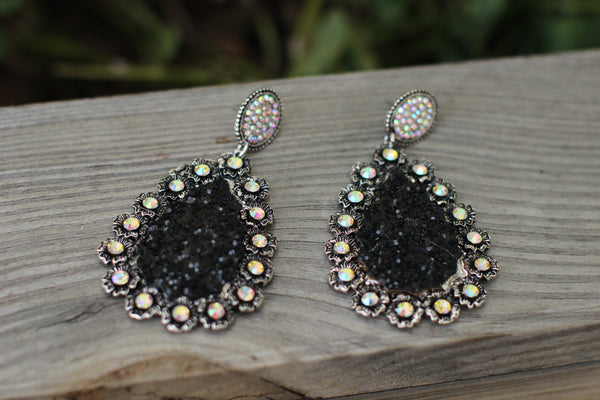 Abigail Glitter AB Crystal Teardrop Earrings
