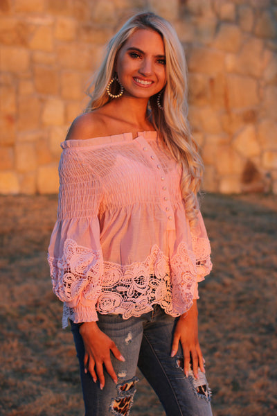 Off Shoulder Button Down Top