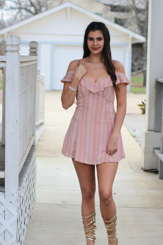 Blush Feminine Detail Boho Open Shoulder Dress