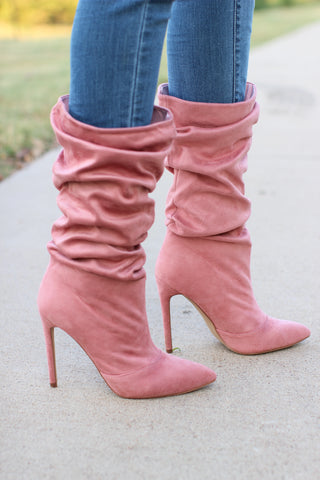 Dusty Pink Point Toe Wrinkled Boots