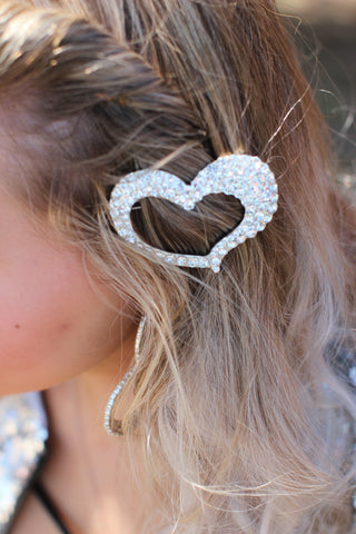 I Heart You Bling Heart Hair Clip