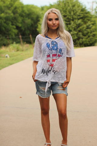 Wild and Free American Cactus Knotted Top