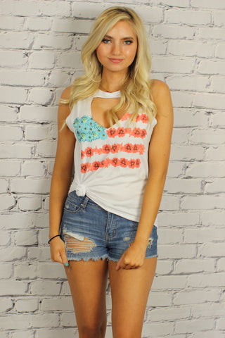 Distressed Floral USA Flag Tee
